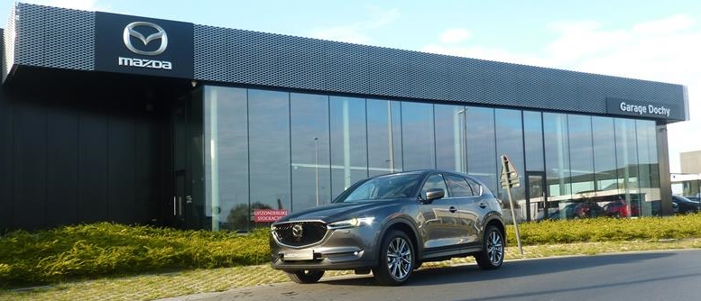 Knappe Mazda CX-5 Machine Grey Skycruise stockwagen kopen bij Garage Dochy Izegem
